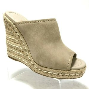 Prada Size 36 Suede Wedge Espadrille Mule Sandal